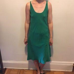 Burberry London Green Silk Midi Slip Dress 10